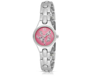 FMD-Pink-Crystal-Butterfly-Sunburst-Dial-Silver-Tone-Metal-Case-Japan-Quartz