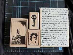 EUC-HTF-Destash-Lot-of-4-Wood-Mounted-Stamps-Romantic-Anniversary-Love-themed