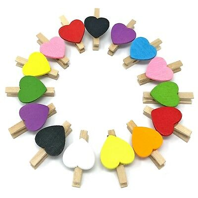 30mm Clothes Peg with 15mm White Hearts Craft For ShabbyChic Vintage Wedding