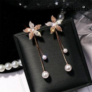 Women-Fashion-Crystal-Flower-Pearl-Earrings-Ear-Stud-Dangle-Earring-Jewelry-Gift