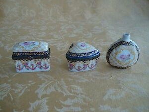 3Pcs Vanity Accessories ~2 Metal Trimmed Edge Trinket Boxes, 1 Bottle Pink Rose