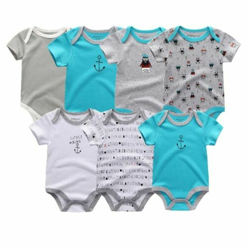 Newborn Baby Rompers Clothing 7Pcs//Lot Infant Jumpsuits Boys Girls Cotton Cloths