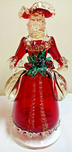 Vintage-Solid-Colored-Glass-Lady-Female-Colonial-1776-Figurine-Hand-Crafted