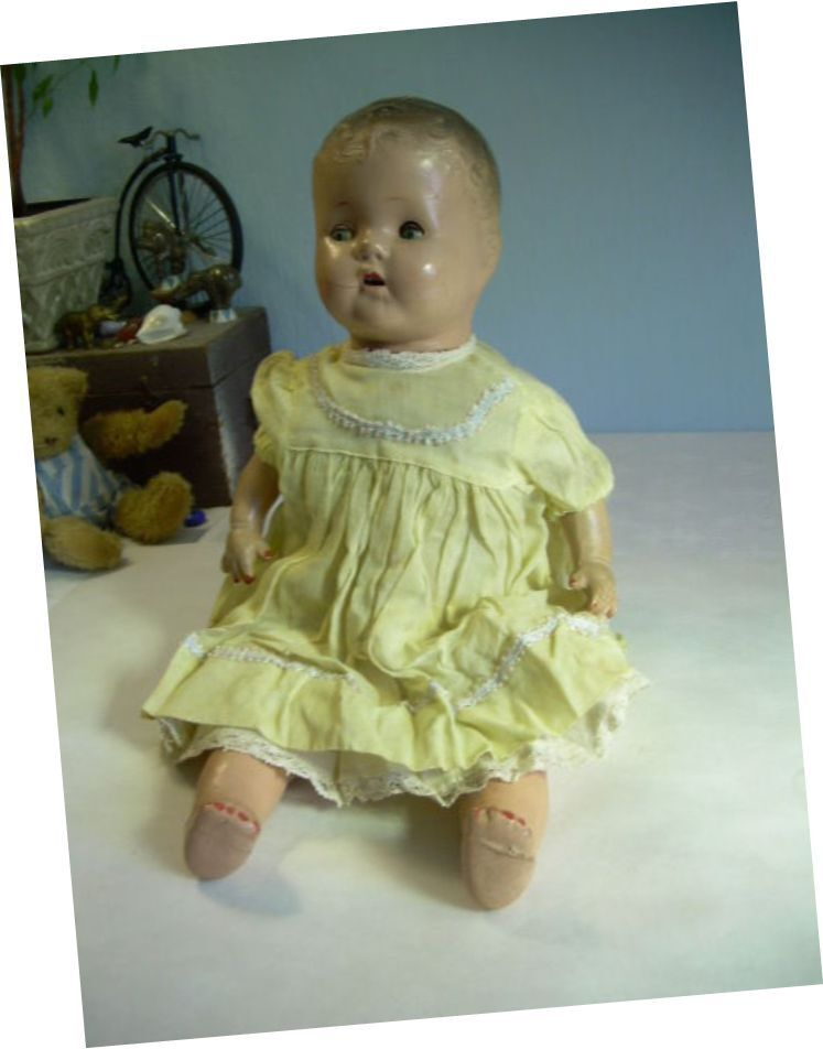 LOVELY Antique Composition Doll Baby 18  Original Clothes TIN Sleep Eyes