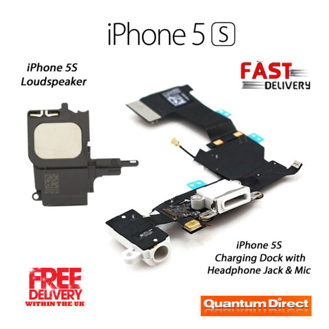 NEW Replacement iPhone 5S Charging Dock/Port Assembly + Loudspeaker - WHITE