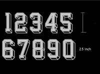 Heat Transfer Iron On Metallic Silver 2.5 Inch Med Jersey Numbers