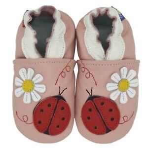 Carozoo Baby Girl Soft Sole Leather Infant Toddler Kids Shoes Ladybug Flower Cream