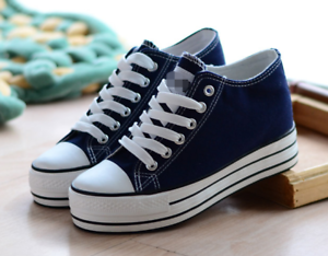 womens sneakers preppy platform canvas lace up slip on