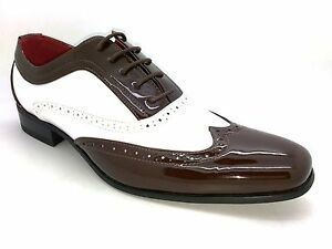d11e6fb2 MENS-BROGUE-PATENT-GANGSTER-ROUNDED-LEATHER-JAZZ-SPAT-