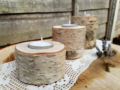 3 Rustic Wooden Branch Tree Tea Light Wood Candle Holders Wedding Mother/'s day