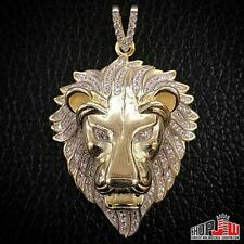 Mens 14k Yellow Gold Finish .925 Silver Pendant Simulated Diamond Lion Face Head