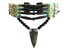 Native American Style 4 Row Bone Hairpipe and Arrowhead Choker Necklace