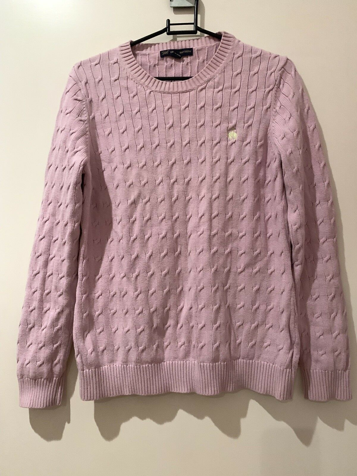 Brooks Bredhers Fleece Logo Cable Knit Jumper For Women Size L In Pink Colour