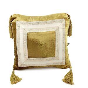 gold velvet throw pillow with fringe