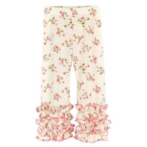 Toddler Baby Girl Ruffle Floral Long Pants Boutique Icing Ruffles Legging Bottom