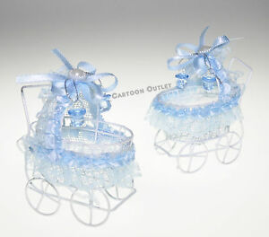 12 RECUERDO BABY SHOWER METAL CARIOLA ROSITA NINo BOY CARRIAGE DECORATION BLUE