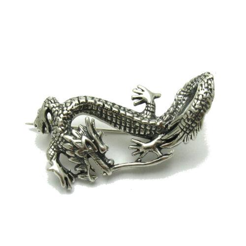 Sterling Silver Brooch Dragon Genuine Solid Hallmarked 925 Handmade