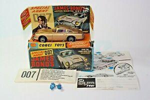 Corgi 261 James Bond Aston Martin, très bon état, excellente boîte d'origine