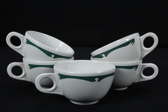 5 Homer Laughlin Restaurantware Cups Bone White Teal Green Wave Crest Everglade