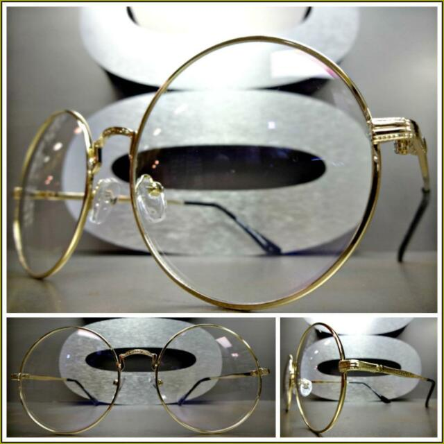 a0ff717265bc New CLASSIC VINTAGE RETRO Style Clear Lens EYE GLASSES Round Gold Fashion  Frame
