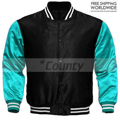 New Baseball Letterman College Varsity Jacket Sports Wear Black Turquoise Satin
