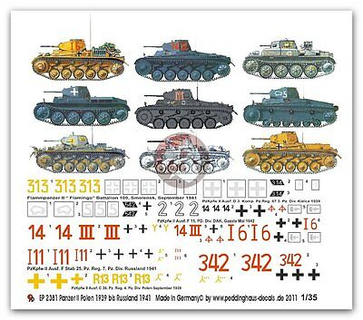 Peddinghaus 1//35 Panzer I-II-III-IV Tank Markings Poland WWII 1087 7 tanks