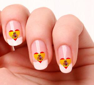 20 Nail Art Decals Transfers Stickers 276 Spanish Flag Heart Ebay
