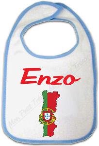 T-shirt Bébé Carte Portugal avec Drapeau avec Prénom Personnalisé