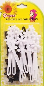 Yours-Barrettes-Hair-BLACK-WHITE-Flowers-Tie-Girls-Pin-Clips-Snap-Braid-20-Pcs