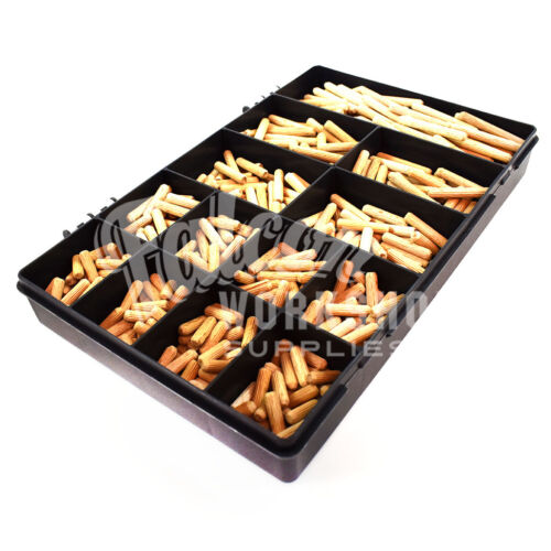 600 ASSORTED 8mm HARDWOOD DOWELS WOODEN CHAMFERED FLUTED PIN WOOD BEECHWOOD KIT