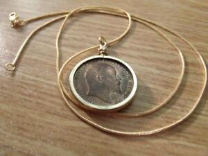 1902-English-Britannia-Edward-Half-Penny-on-a-24-034-18k-Gold-Filled-Snake-Chain