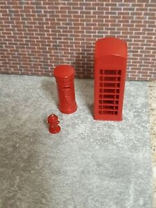 1:64 scale 3d printed London phone box,post box and fire hydrant street diorama