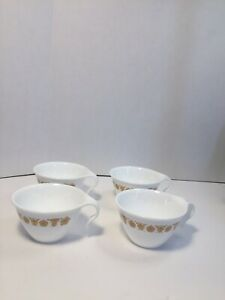 Vintage-Corelle-BUTTERFLY-GOLD-Hook-Handle-Coffee-Tea-Cups-Set-of-4