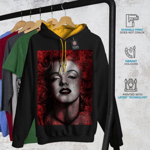 dorada Monroe capucha Nuevo con capucha Wellcoda Marilyn Contraste Negro Hombres qXdgXwz