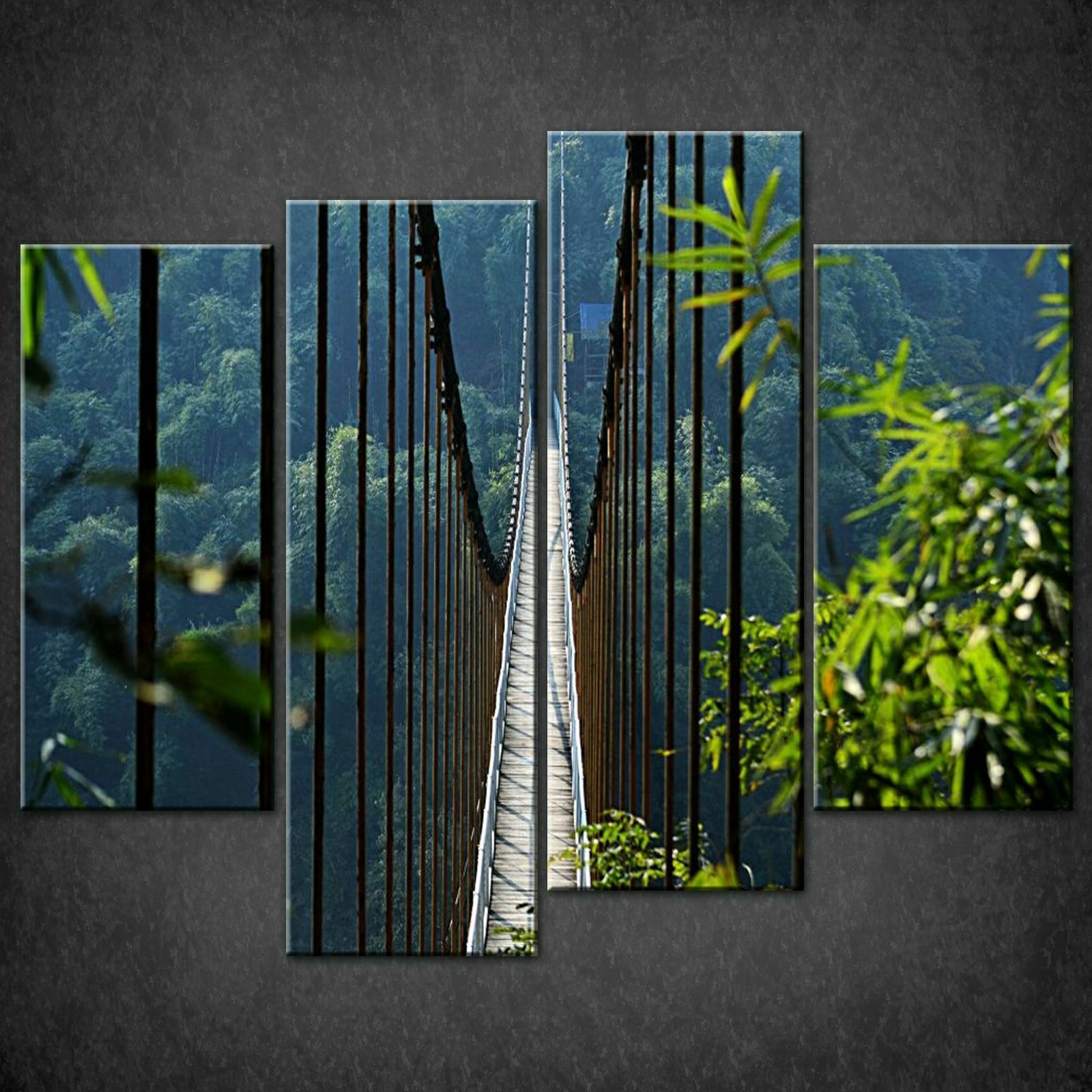 ROPE BRIDGE IN FOREST CANVAS PRINT PICTURE WALL ART FREE FAST DELIVERY