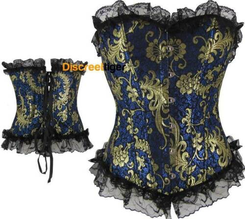 Navy Corset Gold Embossed Floral Patterns Black Lace Cincher Sizes 6-26