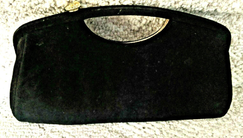 Vintage Black Evening Clutch Purse Brushed Fabric