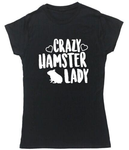 Crazy Hamster Lady T-Shirt à Manches Courtes Ajustée Pour Femme