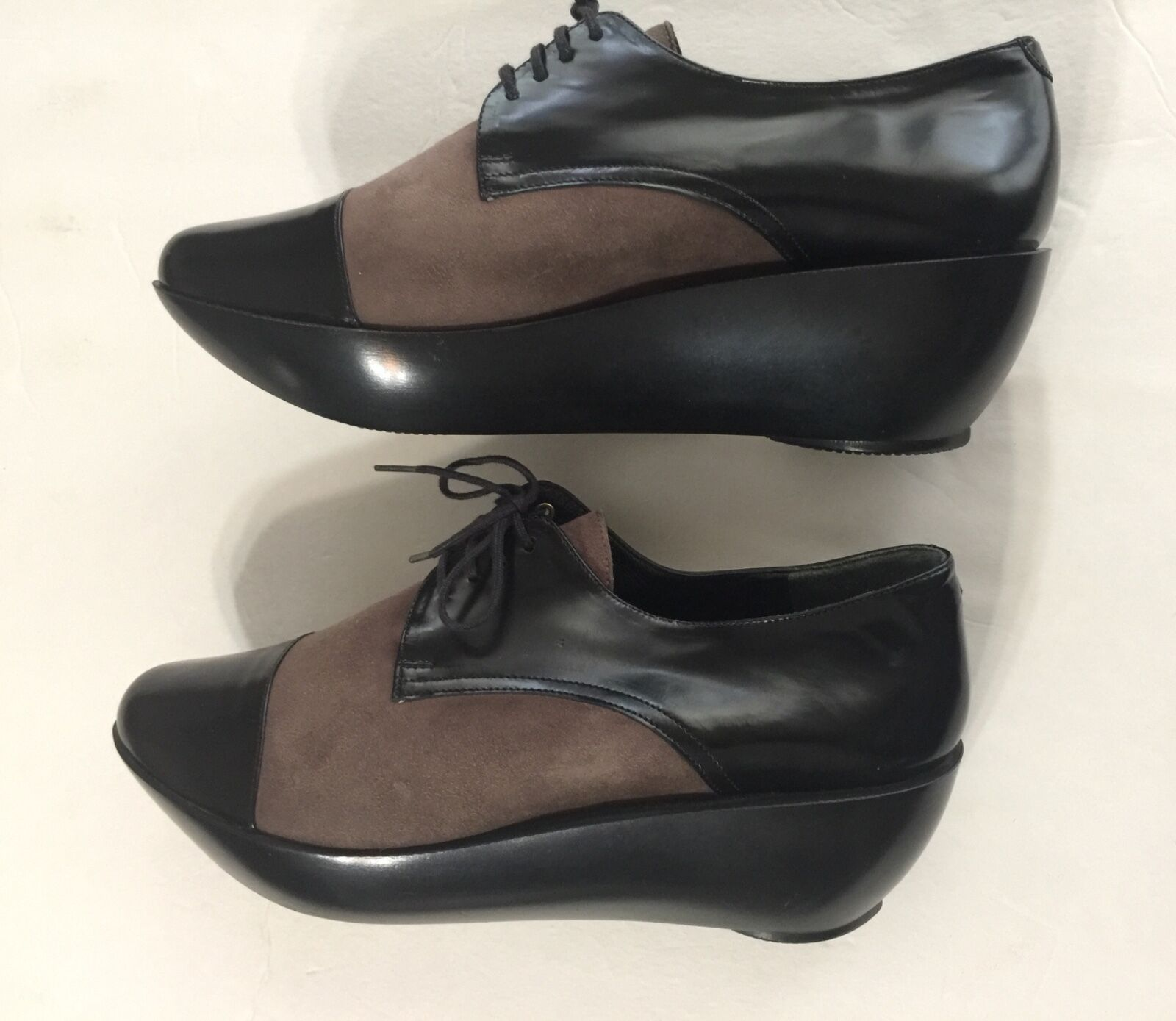 ROBERT CLERGERIE WOMEN SIZE 8.5 8.5 8.5 B  BLACK & BROWN OXFORD PLATFORM SUEDE &LEATHER 35dc26