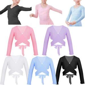 120121852 Girls Kids Ballet Dance Wrap Top Long Sleeve Tops Shrug Cardigan ...