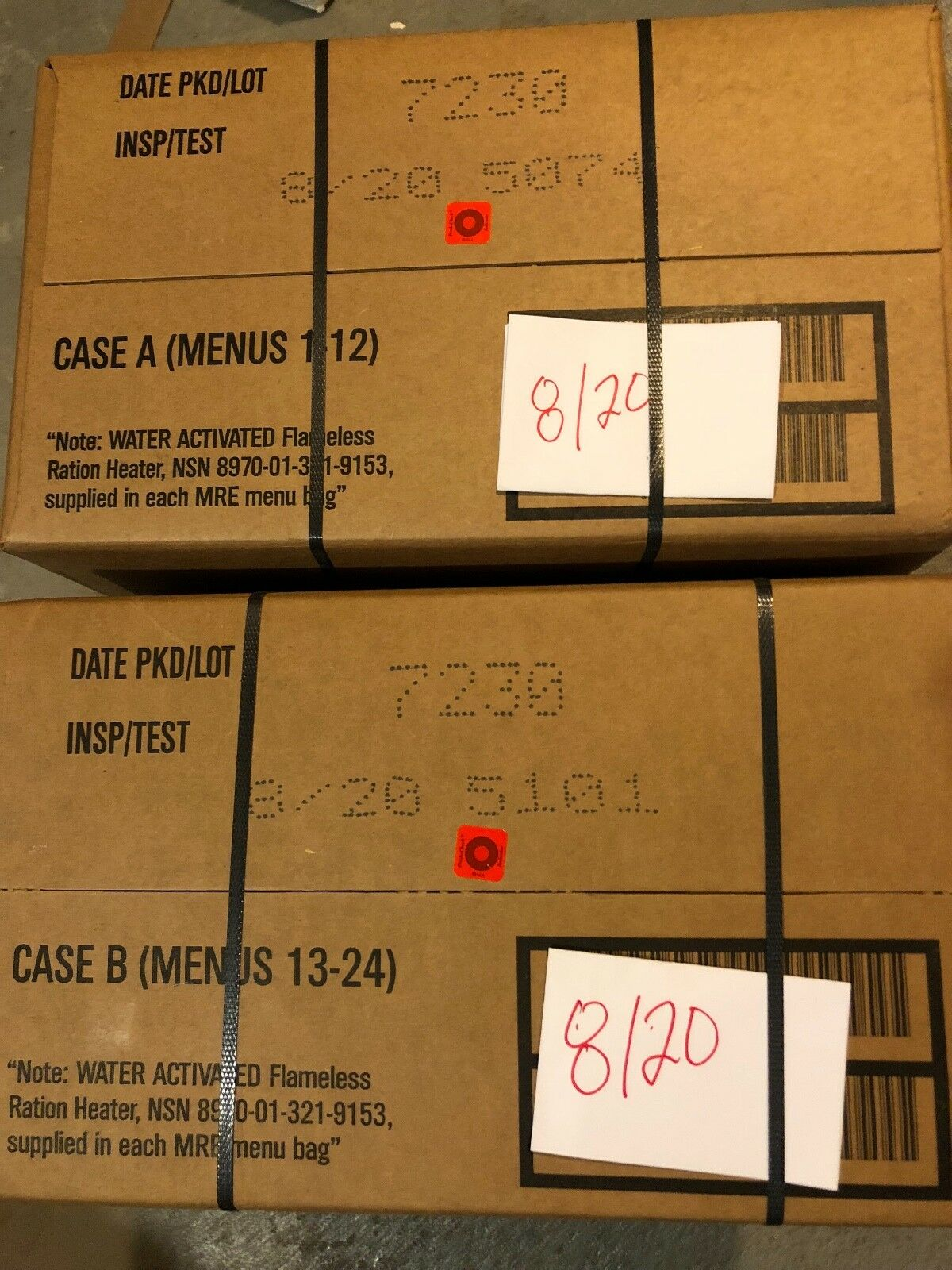 Military MRE 08 2020 Inspection Date A  and B Case  store online