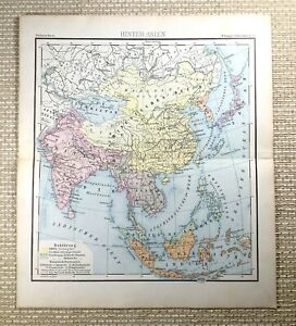 1882 Antik Map Of Die Fern East Asien Orient China Siam Deutsch 19th Jahrhundert