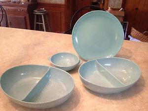 4 PCS vintage turquoise melmac TEXASWARE RIO plate+ confetti bowls serving set
