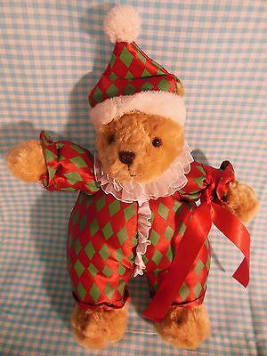 "Christmas Teddy Bear Christopher Radko Harlequin 9"" Plush Stuffed Toy Decoration"