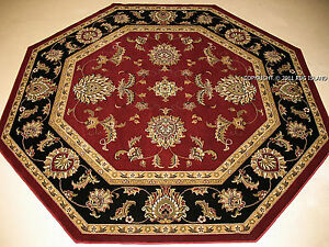 8 7 7 Octagon Traditional Oriental Persian Black Gold Burgundy