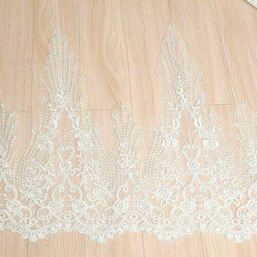 Vestido de novia boda de tela para mujer bordado de encaje flor de malla de bricolaje Blanco NR9