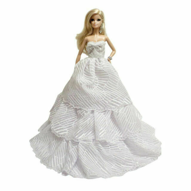 Peregrine White Multitextured Lace Strapless Pearls Gown for 11.5 inches Dolls