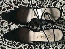 Chanel Made In France Black Suede Ankle Straps Heels Pumps Shoes size 6 US -37EU