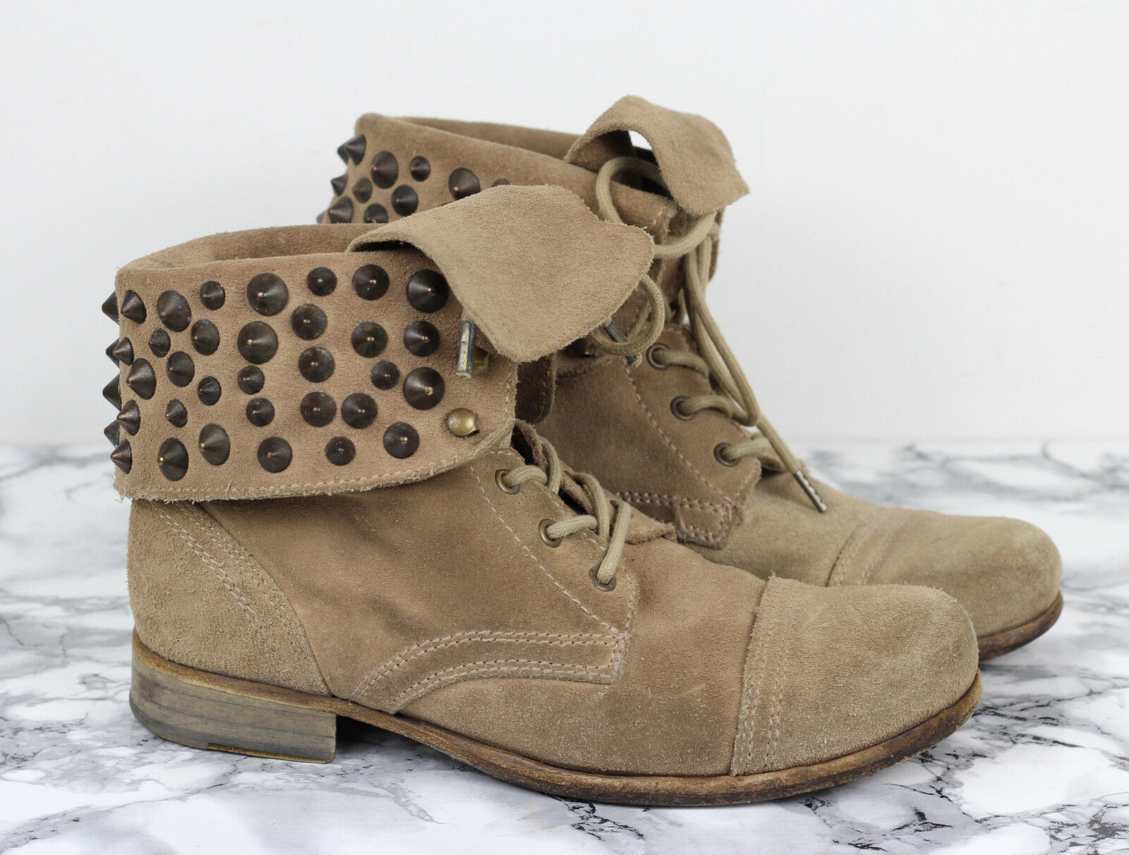 ALL SAINTS Beige Suede Studded Studded Suede Leder Military Combat Stiefel, Größe EU 38 / UK 5 08f0d8