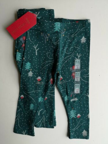 Marks And Spencer Baby Girl Christmas Leggings Age 9-12 Months X2 Pairs Green